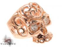 Mens Rose Gold Skull Ring 2 Mens Diamond Rings
