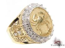 Mens Cancer CZ 10kt Gold Ring Mens Gold Rings