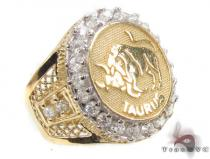 Mens Taurus CZ 10kt Gold Ring Mens Gold Rings