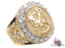 Mens Gemini CZ 10kt Gold Ring Mens Gold Rings
