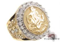 Mens Aquarius CZ 10kt Gold Ring Mens Gold Rings