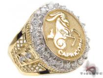Mens Capricorn CZ 10kt Gold Ring Mens Gold Rings