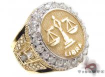 Mens Libra CZ 10kt Gold Ring Mens Gold Rings