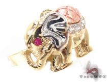 CZ 10k Gold Elephant Ring 33548 ゴールド レディース リング