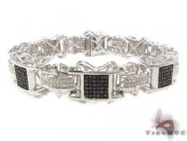 Black and White Prong Diamond Silver Bracelet 33552 Silver