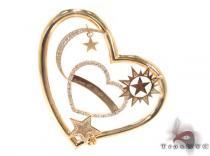 Prong Diamond 18K Gold Heart Pendant 33722 ダイヤモンド ハートペンダント