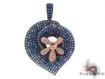 Sapphire Gemstone Diamond Flower Pendant 34024 Gemstone Pendants