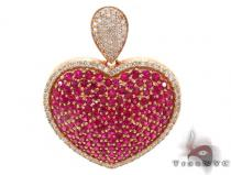 Pink Ruby Gemstone Diamond Heart Pendant 34025 Diamond Heart Pendants