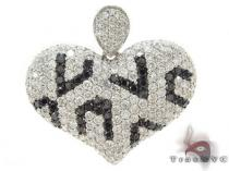 Black and White Diamond Heart Pendant Diamond Heart Pendants