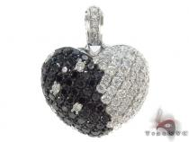 Black and White Heart Pendant 34029 Diamond Heart Pendants