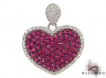 Ruby Gemstone Diamond Heart Pendant 34031 Diamond Heart Pendants