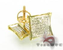 Yellow Gold SQ Earrings Mens Diamond Earrings