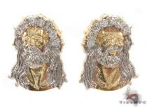 CZ 10K Gold Jesus Earrings 34153 Metal