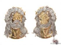 CZ 10K Gold Jesus Earrings 34154 Mens Gold Earrings