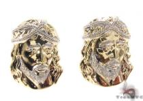 10K Gold Jesus Earrings 34157 Mens Gold Earrings