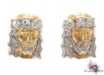 CZ 10K Gold Jesus Earrings 34158 Metal