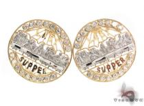 CZ 10K Gold Last Supper Earrings 34166 Metal