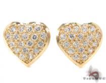 CZ 10K Gold Heart Earrings 34228 レディース ゴールドイヤリング