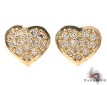 CZ 10K Gold Heart Earrings 34229 Metal