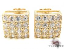 CZ 10K Gold Square Earrings 34230 Ladies Gold Earrings