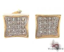 CZ 10K Gold Earrings 34232 Mens Gold Earrings