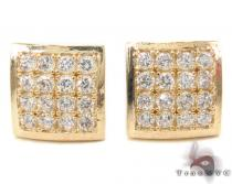 CZ 10K Gold Square Earrings 34233 Mens Gold Earrings