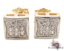 CZ 10K Gold Square Earrings 34234 Mens Gold Earrings