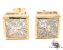 CZ 10K Gold Square Earrings 34236 Mens Gold Earrings
