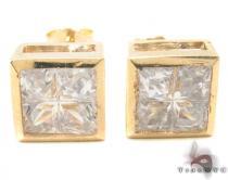 CZ 10K Gold Square Earrings 34236 Mens Gold Earrings