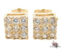 CZ 10K Gold Earrings 33244 Mens Gold Earrings