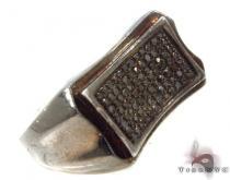 Prong Diamond Silver Ring 34532 メンズ シルバー リング
