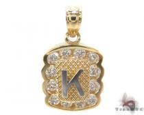 CZ 10K Gold Letter K Pendant Gold Pendants
