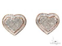 Prong Diamond Heart Earrings 34976 Metal