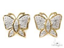 Prong Diamond Butterfly Silver Earrings 34978 Metal