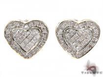 Prong Diamond Heart Earrings 35050 Metal