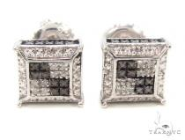 Prong Diamond Silver Earrings 35077 Sterling Silver Earrings