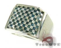 Blue Checkered Diamond Ring Mens Diamond Rings