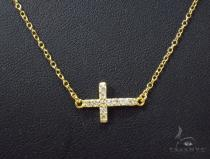 CZ Silver Cross Necklace 35955 Silver