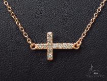 CZ Silver Cross Necklace 35956 Silver