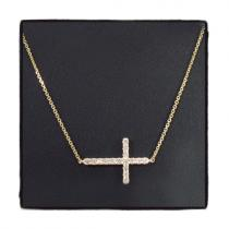 14K Gold Prong Diamond Cross Crucifix Necklace 32223 ダイヤモンドネックレス