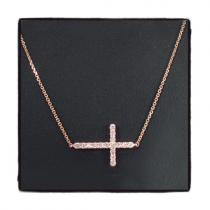 14K Gold Prong Diamond Cross Crucifix Necklace 32224 ダイヤモンドネックレス
