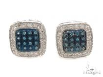 Prong Diamond Silver Earrings 36016 Metal