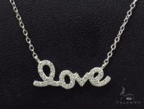 CZ Silver LOVE Necklace 36217 Silver