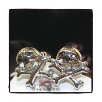 Skull Head Studs Mens Diamond Earrings