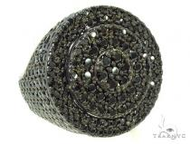 Black CZ Silver Pinky Ring 36634 Mens Silver Rings