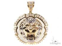CZ 10K Gold Lion Pendant 36762 Metal
