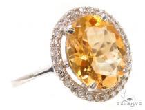 Citrine & Diamond Silver Ring 36826 レディース シルバーリング