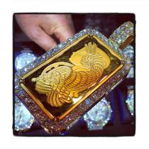 10 Ounce Gold Pamp Suisse Bar Diamond Pendant Diamond Pendants