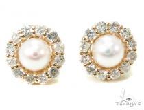 Prong Diamond Pearl Earrings 36950 Stone