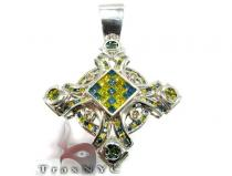 Multi Color Princess Pendant Mens Diamond Cross